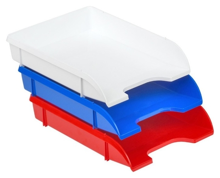 Лоток для бумаг Attache триколор 3шт/уп белый, синий, красный  Attache