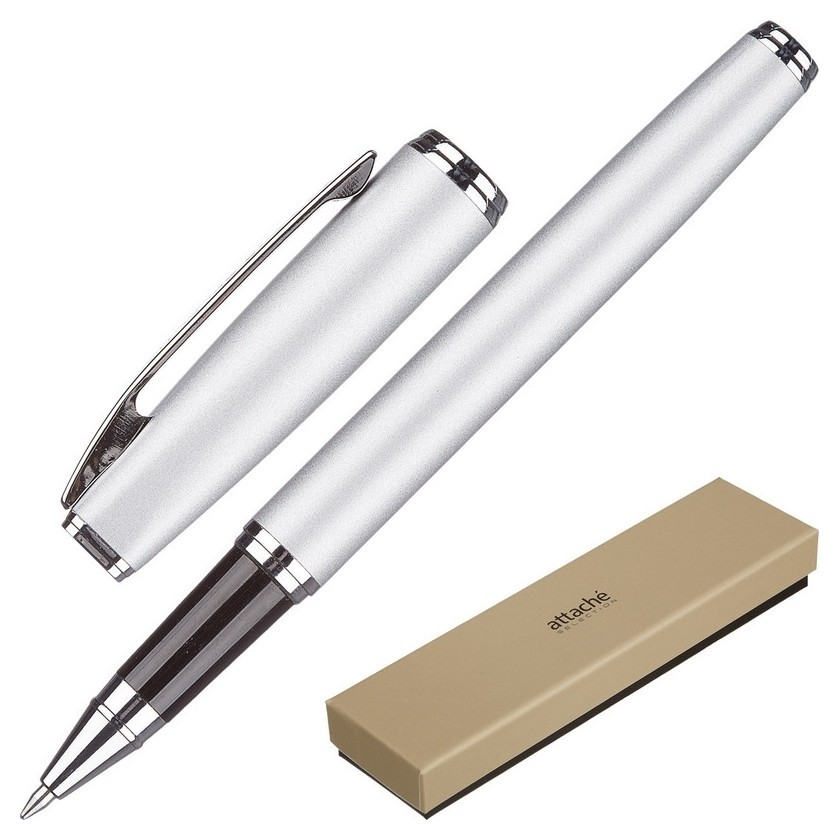 Ручка гелевая Attache Selection Elegance,сереб.корп,синий,футляр  Attache