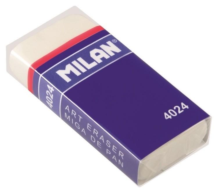 Ластик каучуковый Milan 4024, белый, карт. держатель  Milan