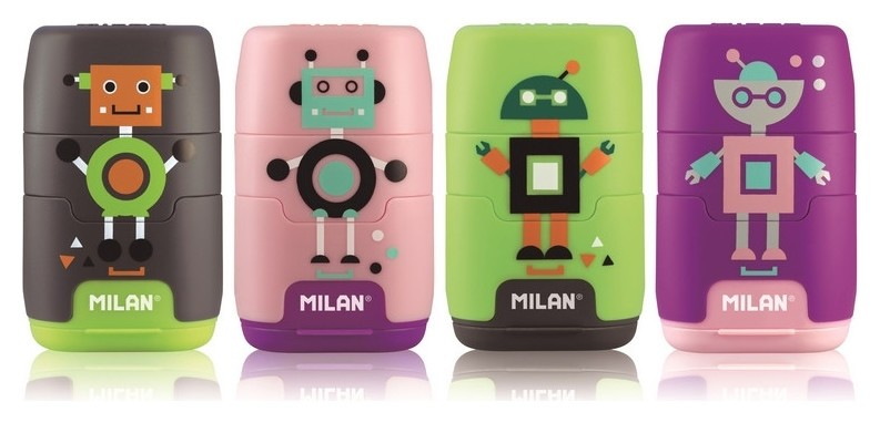 Ластик -точилка Milan Compact Happy Bots, цв в асс (4722116) (ДС)  Milan