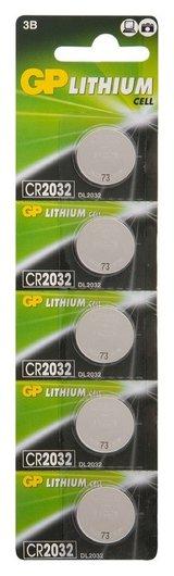 Батарейки GP Cr2032, 3V, литий, бл/5шт  GР