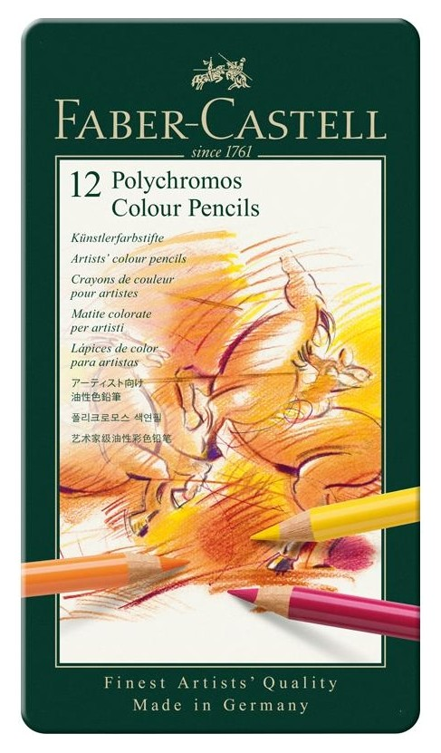 Карандаши цветные Faber-castell Polychromos 12цв.,метал. коробка, 110012  Faber-castell