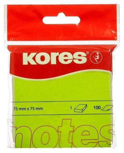 Блок-кубик Kores бум.для зам. 75х75 неон. зеленая 100л. 47075 (47077/47075)  Kores