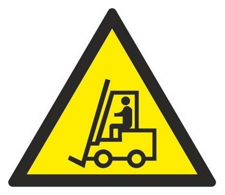 Знак безопасности W07 внимание. автопогрузчик (Плёнка,200х200)  Технотерра
