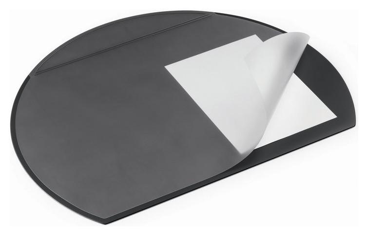 Коврик на стол Durable 52х65см черный полукруглый с прозрачным листом 7290  Durable