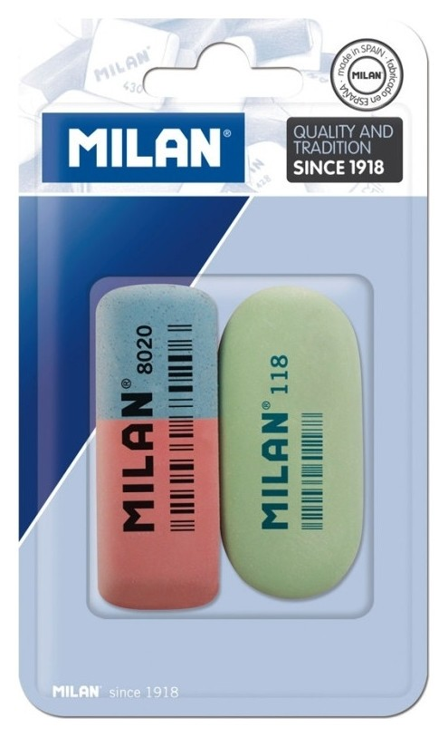 Ластик каучук Milan 8020 + ластик каучук Milan 118, в блистере (Bvm9216) Milan