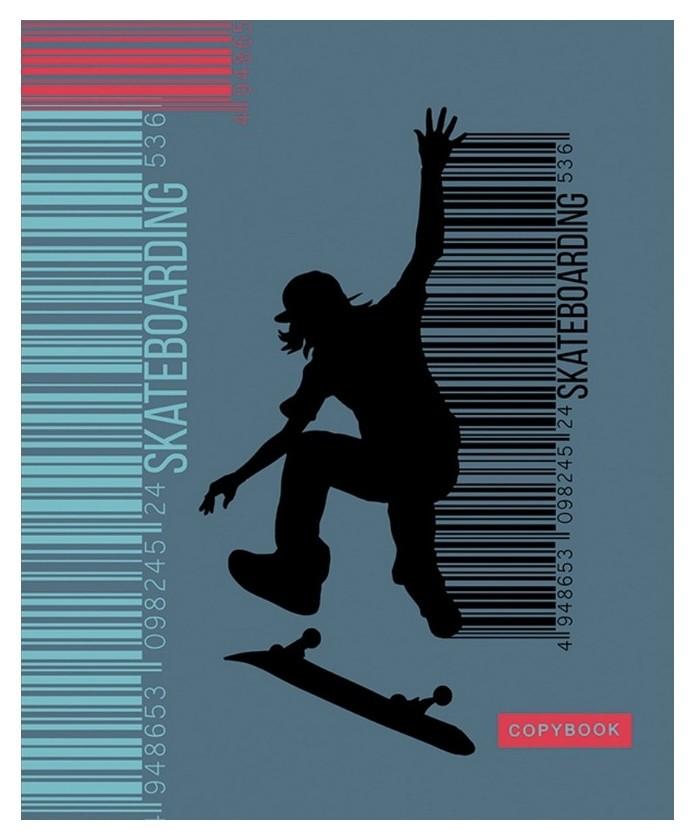 Тетрадь общая а5,48л,линия,скрепка,обл.мел.карт. скейт с2549-61  Апплика