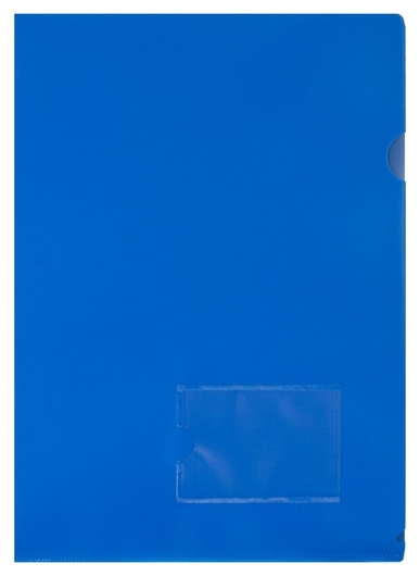 Папка уголок Attache А4 180 мкм, карман для визитки, синий 1/20шт  Attache