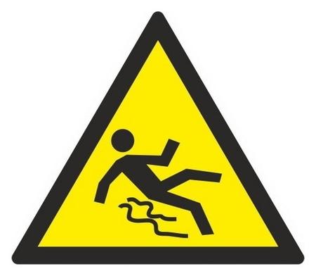 Знак безопасности W28 осторожно. скользко (Плёнка,200х200)  Технотерра