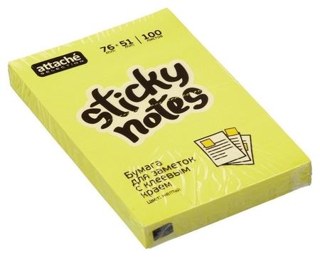 Блок-кубик Attache Selection с клеев. краем 76х51, неон, желтый 100л  Attache