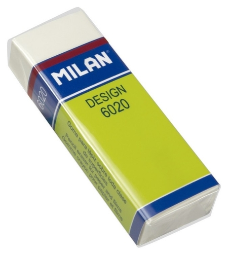 Ластик пластиковый Milan 6020, белый, карт. держатель  Milan