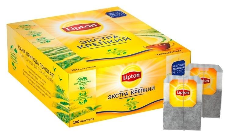 Чай Lipton экстра крепкий черн., 100 пак/уп  Lipton