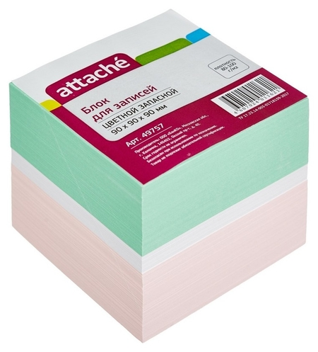 Блок-кубик Attache запасной 9х9х9 цветной блок 80 г  Attache