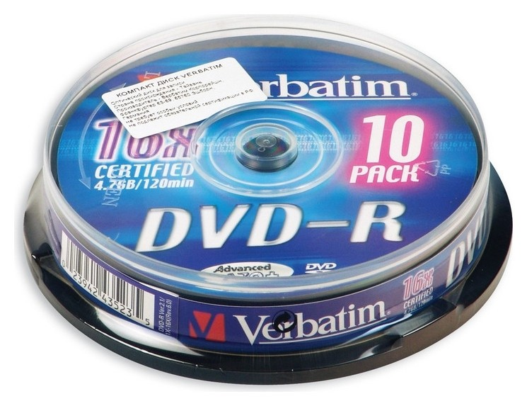 Носители информации Dvd-r, 16x, Verbatim Azo Matt Silver, Cake/10, 43523  Verbatim