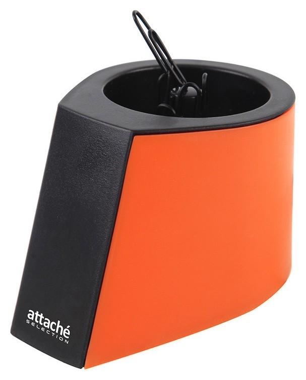 Скрепочница магнитная Attache Selection, цвет черный/оранжевый  Attache