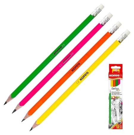 Карандаш чернографитный Kores Grafitos Neon трехгранный HB с ластиком  Kores