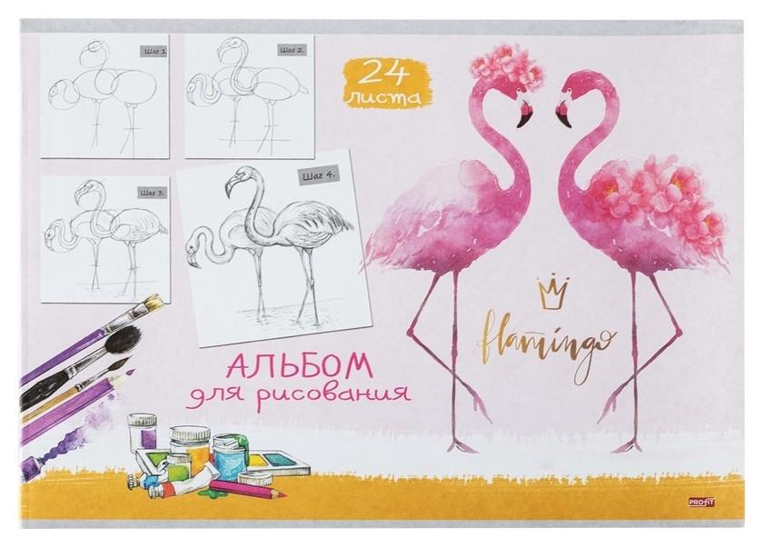 Альбом для рисования А4 24л,скрепка,обл.офсет пара фламинго 24-4475  Проф-пресс
