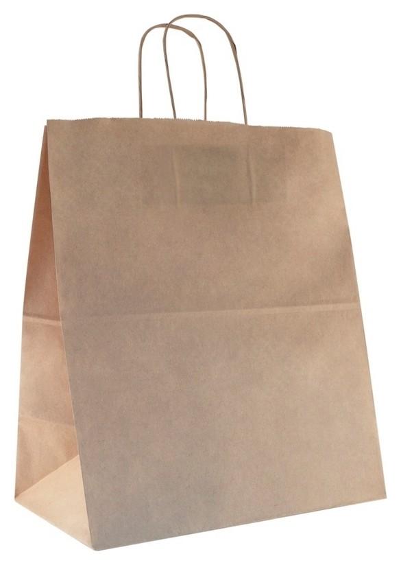 Пакет бумажный с кручеными ручками, крафт, 330x180x370мм 200 шт/уп  Aviora