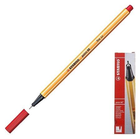 Ручка капиллярная Stabilo Point 88, 0.4 мм, чернила красные 88/40  Stabilo