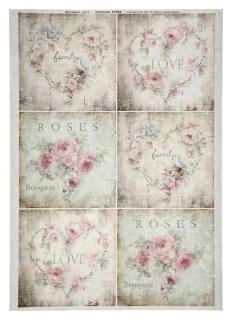 """Декупажная карта """"Любовь и розы"""", плотность 45 г/м2 А4  NNB"""
