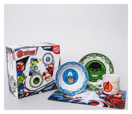 Набор посуды «Марвел», 4 предмета: тарелка Ø 16,5 см, миска Ø 14 см, кружка 200 мл, коврик в подарочной упаковке, мстители  Marvel