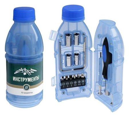 """Набор инструментов Tundra, подарочный пластиковый кейс """"Бутылка"""", 15 предметов  Tundra"""