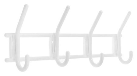 Вешалка Tundra, 4-х крючковая снежно-белая,пластмасса, 1 шт.  Tundra