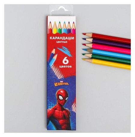 """Карандаши цветные, 6 цветов """"Супергерой"""", человек-паук  Marvel"""