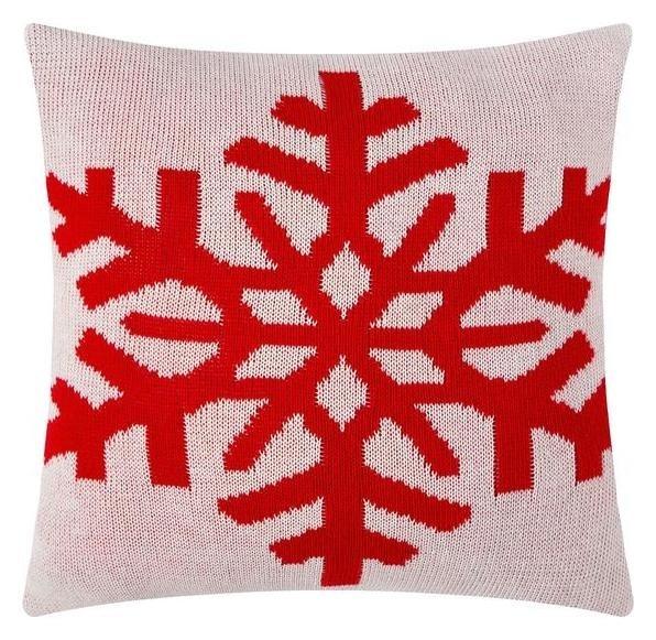 """Чехол на подушку вязаный """"Этель"""" снежинки, 35х35 см  Этель"""
