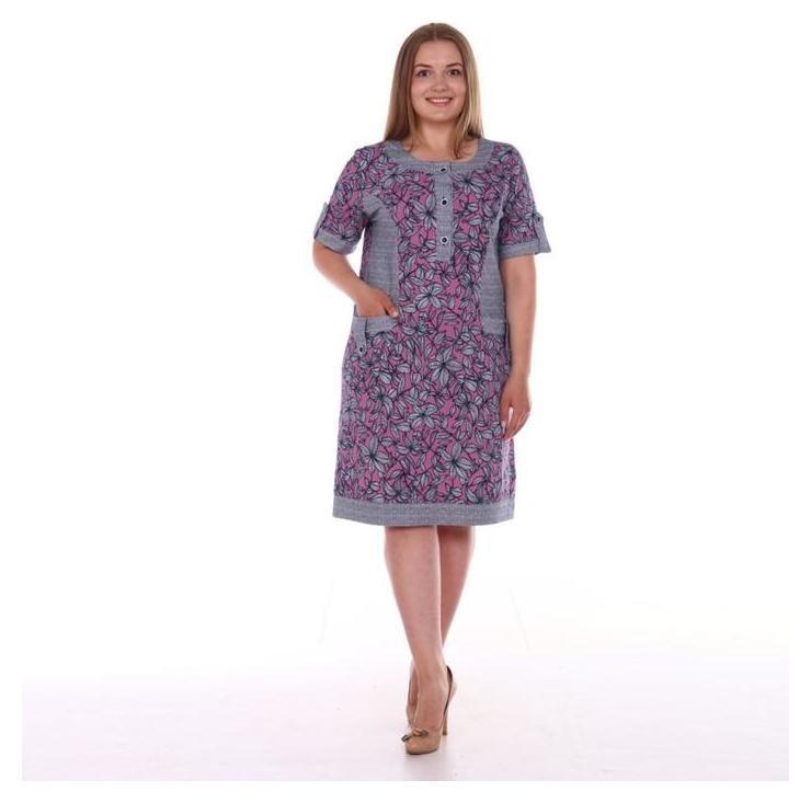 Туника женская, цвет серый/лиловый/цветы, размер 58  Modellini