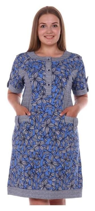 Туника женская, цвет серый/синий/цветы, размер 52  Modellini
