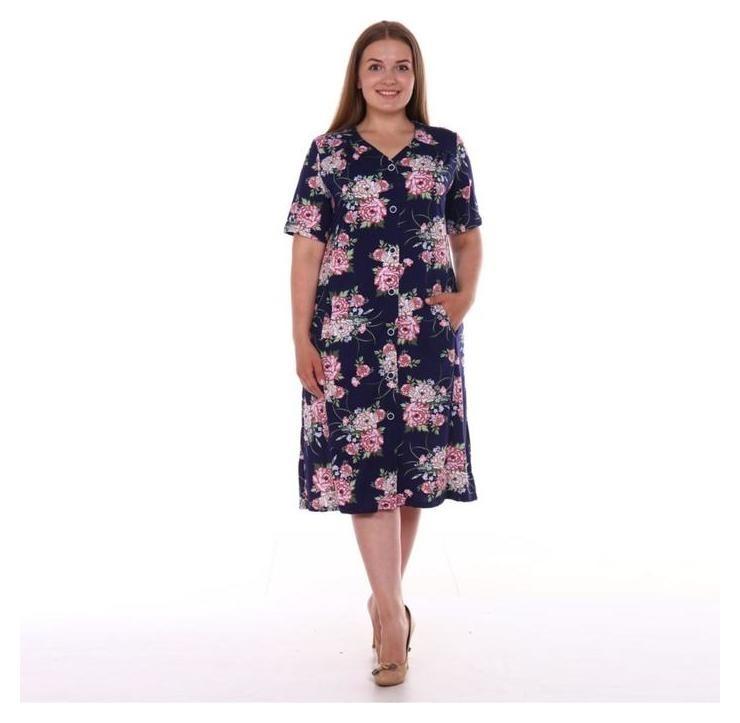 Халат женский, цвет тёмно-синий/цветы, размер 58 Modellini