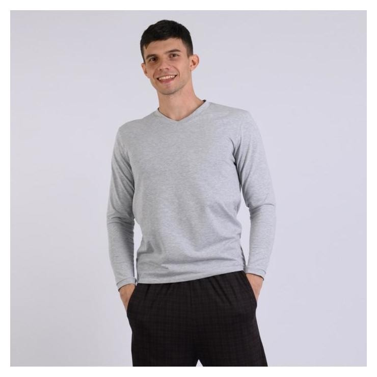 Футболка (Лонгслив) мужской, цвет серый меланж, размер 52  Modellini