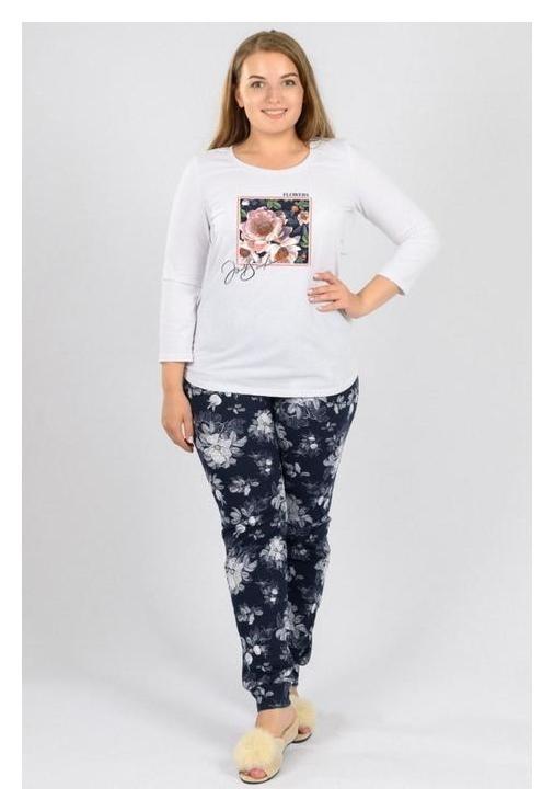 Костюм женский (Футболка, брюки), цвет белый/синий/цветы, размер 52  Modellini
