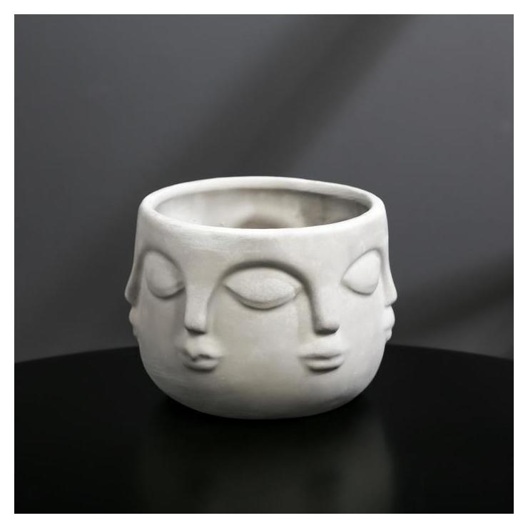 Кашпо-голова из бетона «Муза», серое, 11,5 х 9 см  Дарите счастье
