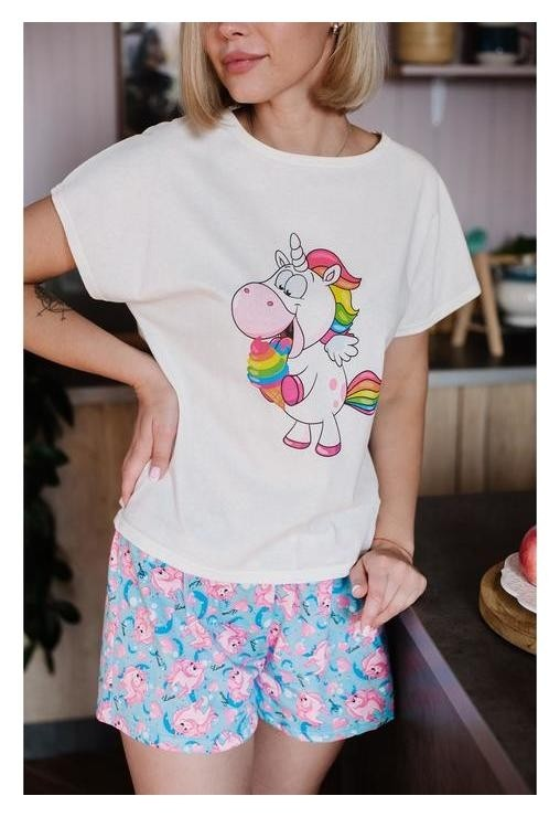 Пижама женская (Футболка, шорты), цвет молочный/голубой, размер 46  Неженка