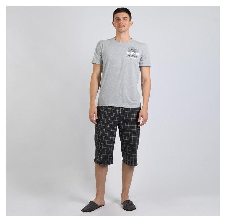 Комплект мужской (Футболка, бриджи), цвет серый меланж/клетка, размер 58  Modellini