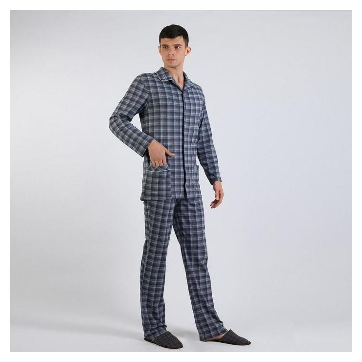 Пижама мужская (Рубашка, брюки), цвет серо-синий/клетка, размер 58  Modellini