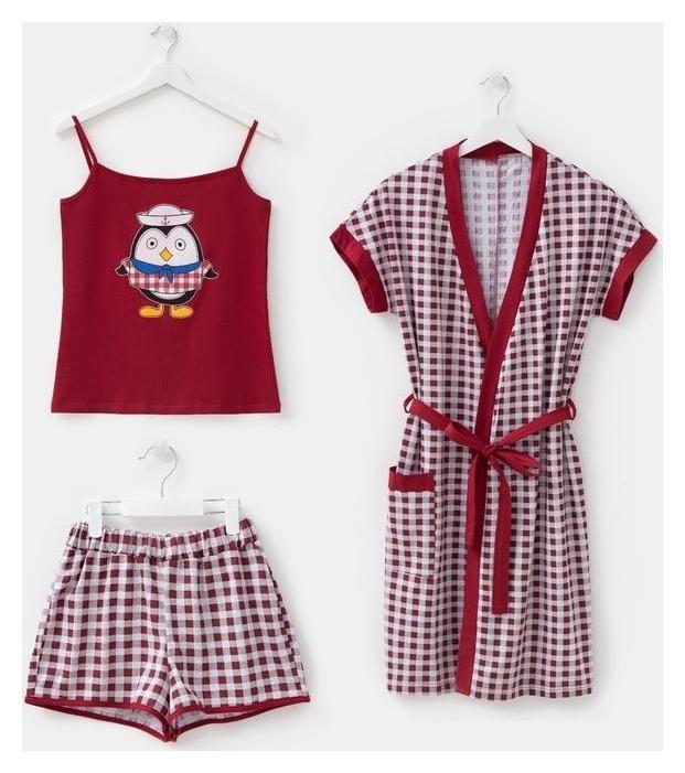 Комплект женский (Майка, шорты, халат), цвет бордо, размер 54  Красная Ветка
