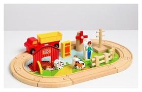 """Деревянная игрушка """"Железная дорога + ферма"""" 23 детали 32х5х17 см"""