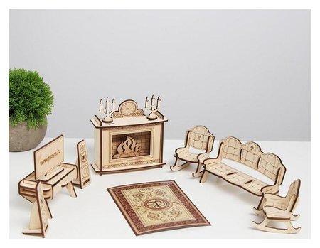 Конструктор арт. км-10, мебель для кукол «Гостиная с камином»  Теремок