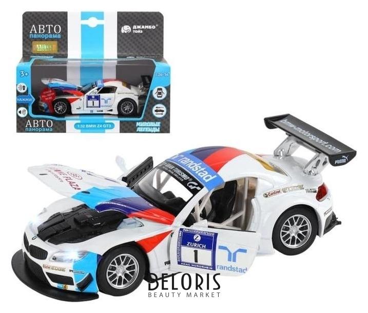Машина металлическая BMW Z4 GT3 1:32, инерция, световые и звуковые, открываются двери, цвет белый Джамбо