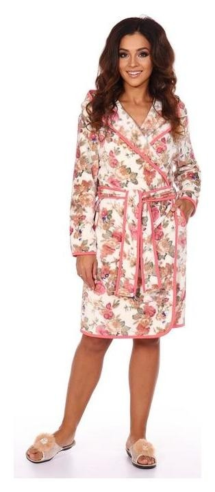 Халат женский «Юлиана», цвет бежевый/цветы, размер 52  Serenada
