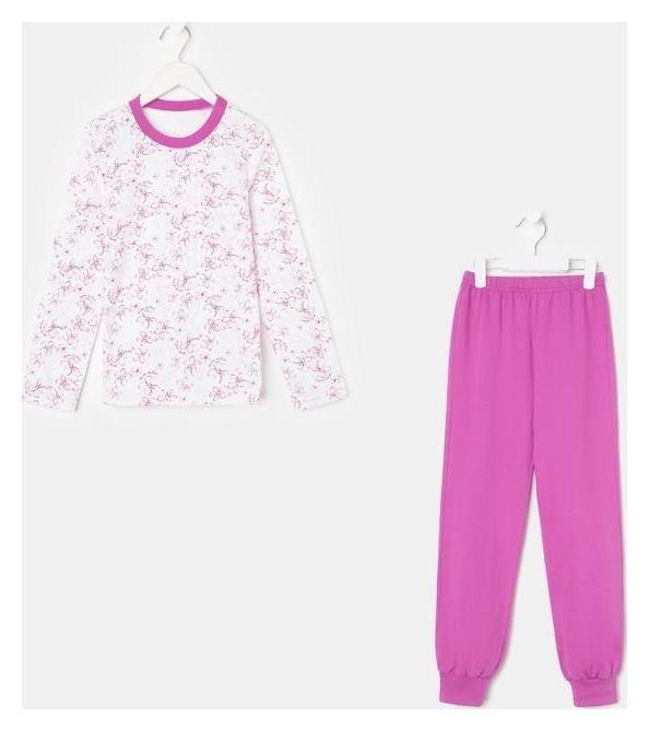 Пижама для девочки, цвет белый/сирень, рост 122 см  Флора