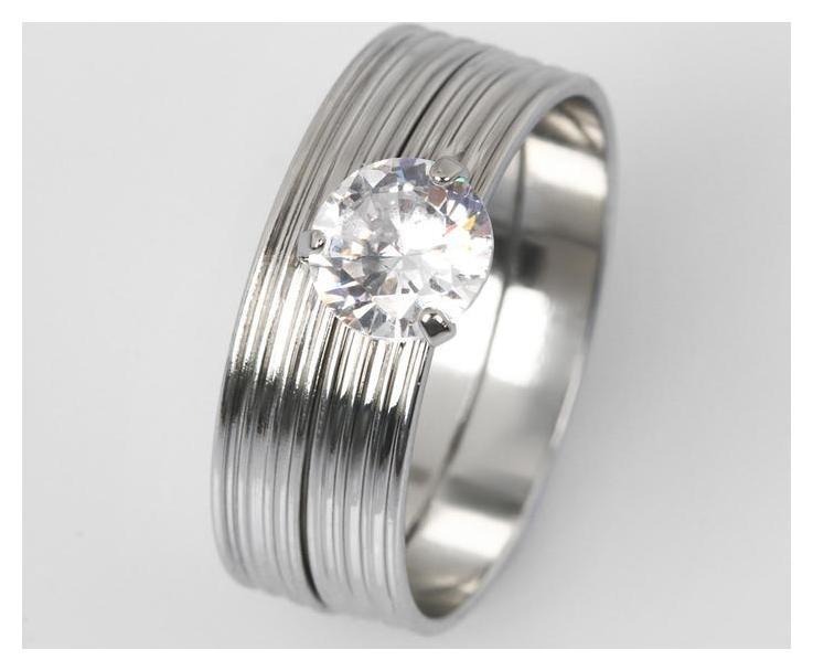 Кольцо Кристаллик линии, цвет белый в серебре, размер 17 NNB