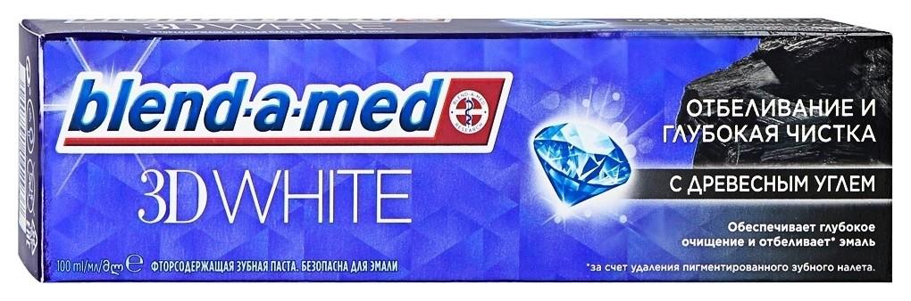 Зубная паста отбеливание и глубокая чистка с древесным углем  Blend-a-med