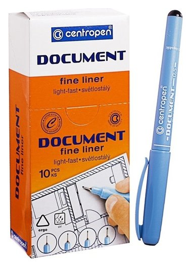 """Ручка капиллярная Centropen """"Document"""" 2631, 0,5 мм, длина письма 500 м, черная  Centropen"""