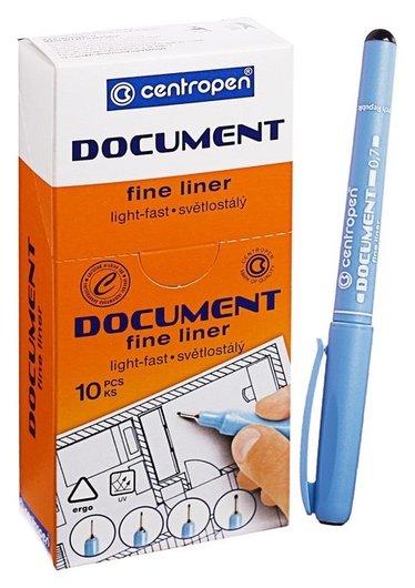"""Ручка капиллярная Centropen """"Document"""" 2631, 0,7 мм, длина письма 500 м, черная  Centropen"""