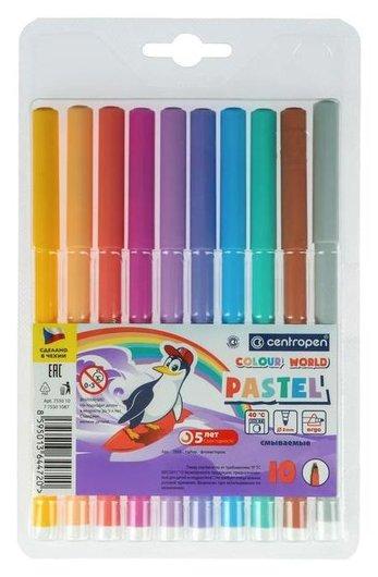 Фломастеры 10 цветов, Centropen Colour World Pastel 7550/10 TP, пастельные  Centropen