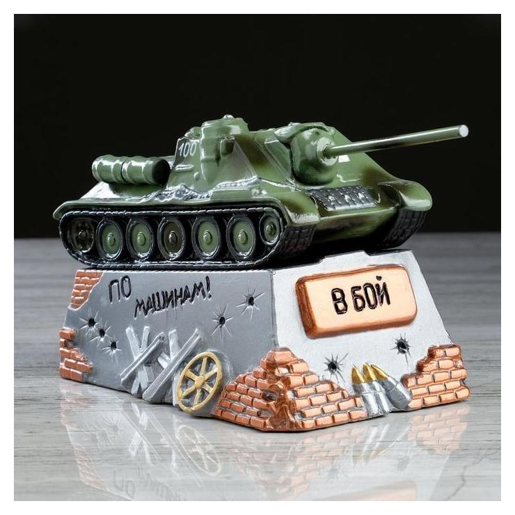 """Копилка """"Танк су-100"""", зелёный, 26,5 см × 13,5 см  Керамика ручной работы"""